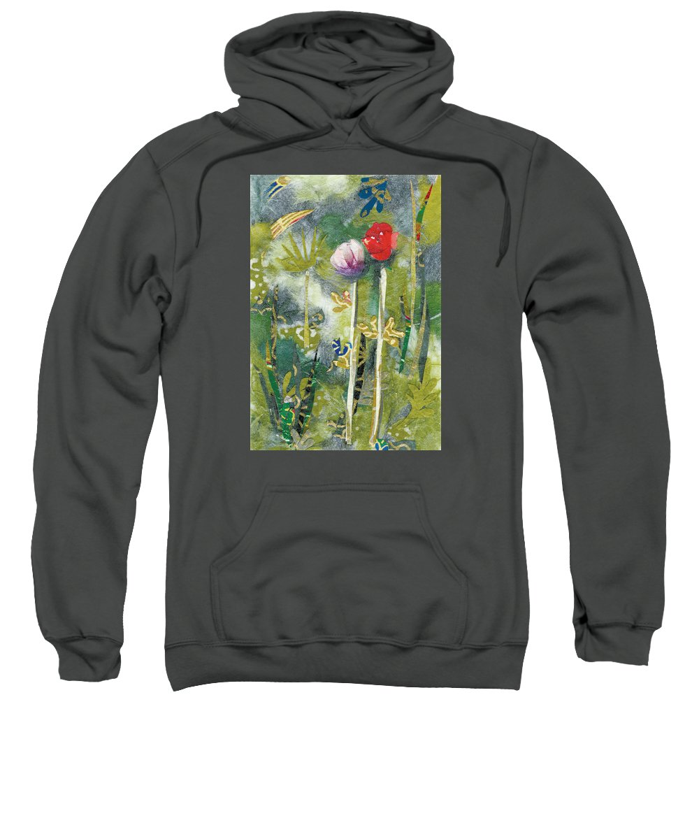 Pair Of Flowers Sweatshirt featuring the painting Lovers by Nira Schwartz
