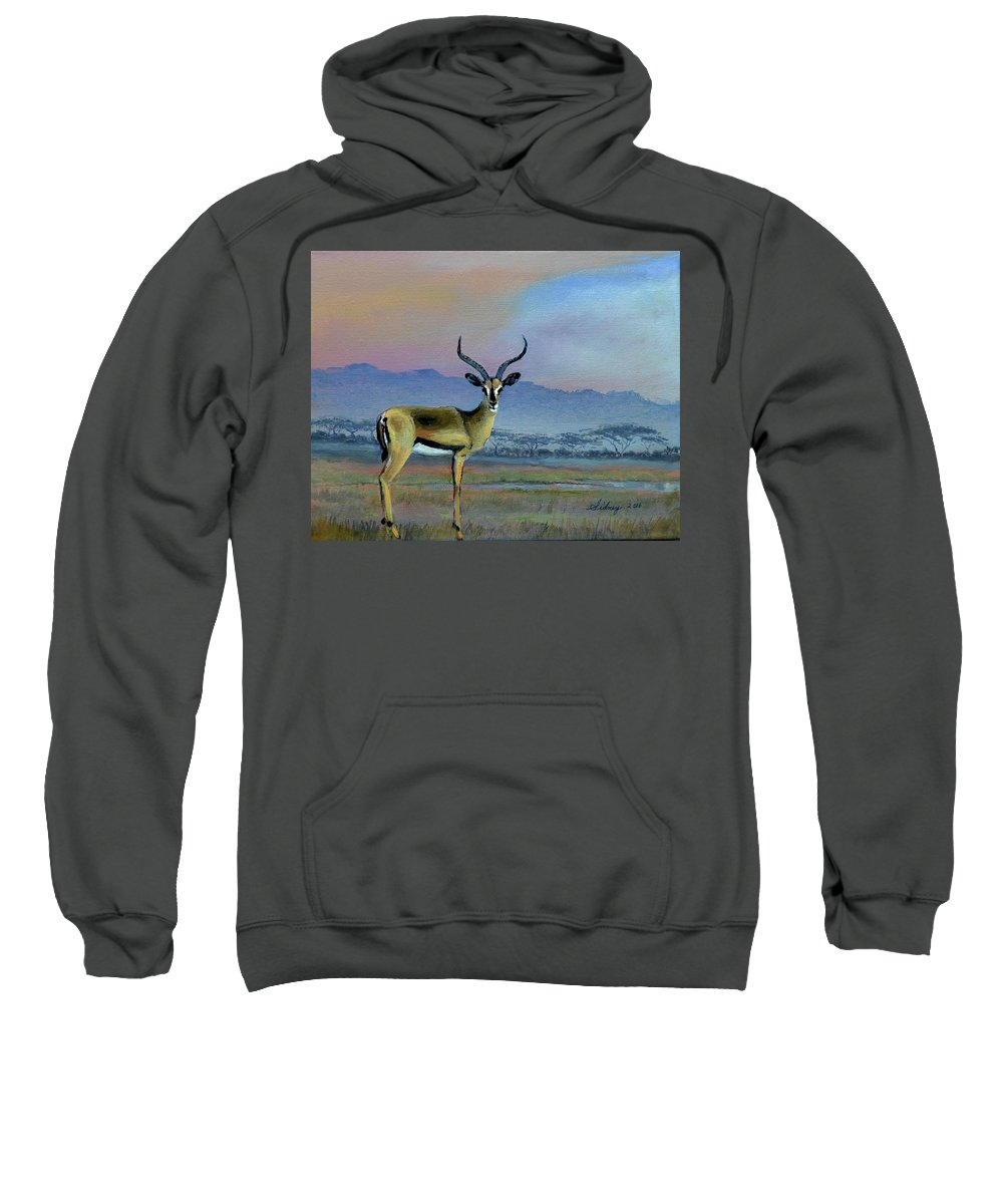 Africa Sweatshirt featuring the painting Lowell's Gazelle by Sidney Vaughn