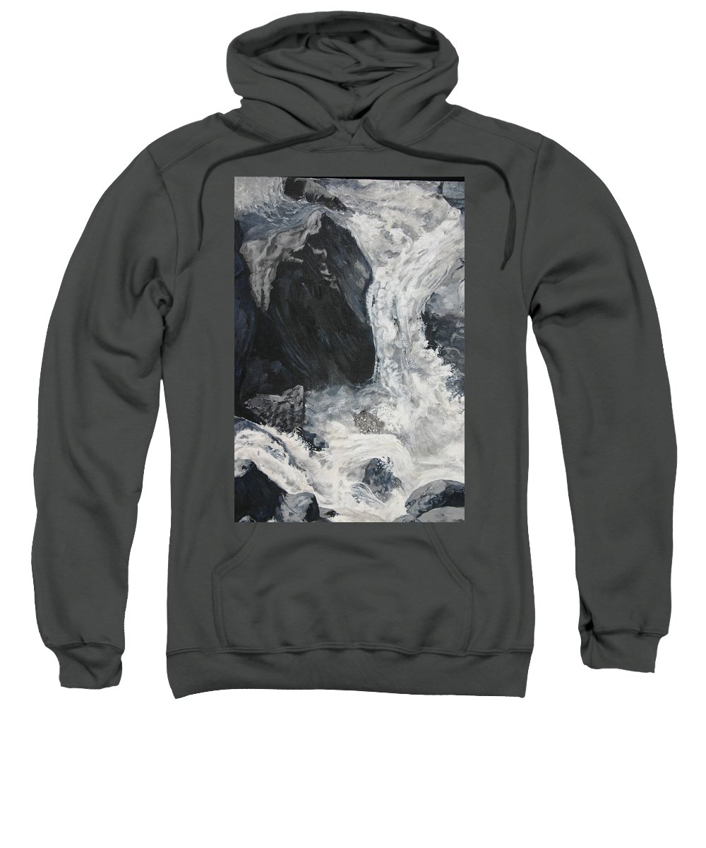 Water Sweatshirt featuring the painting Lower Vernal Black and White by Travis Day