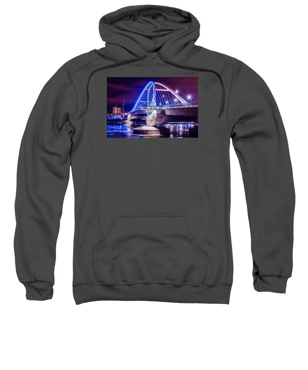 Landscape Sweatshirt featuring the photograph Lowry Bridge @ Night by Pezios Photography