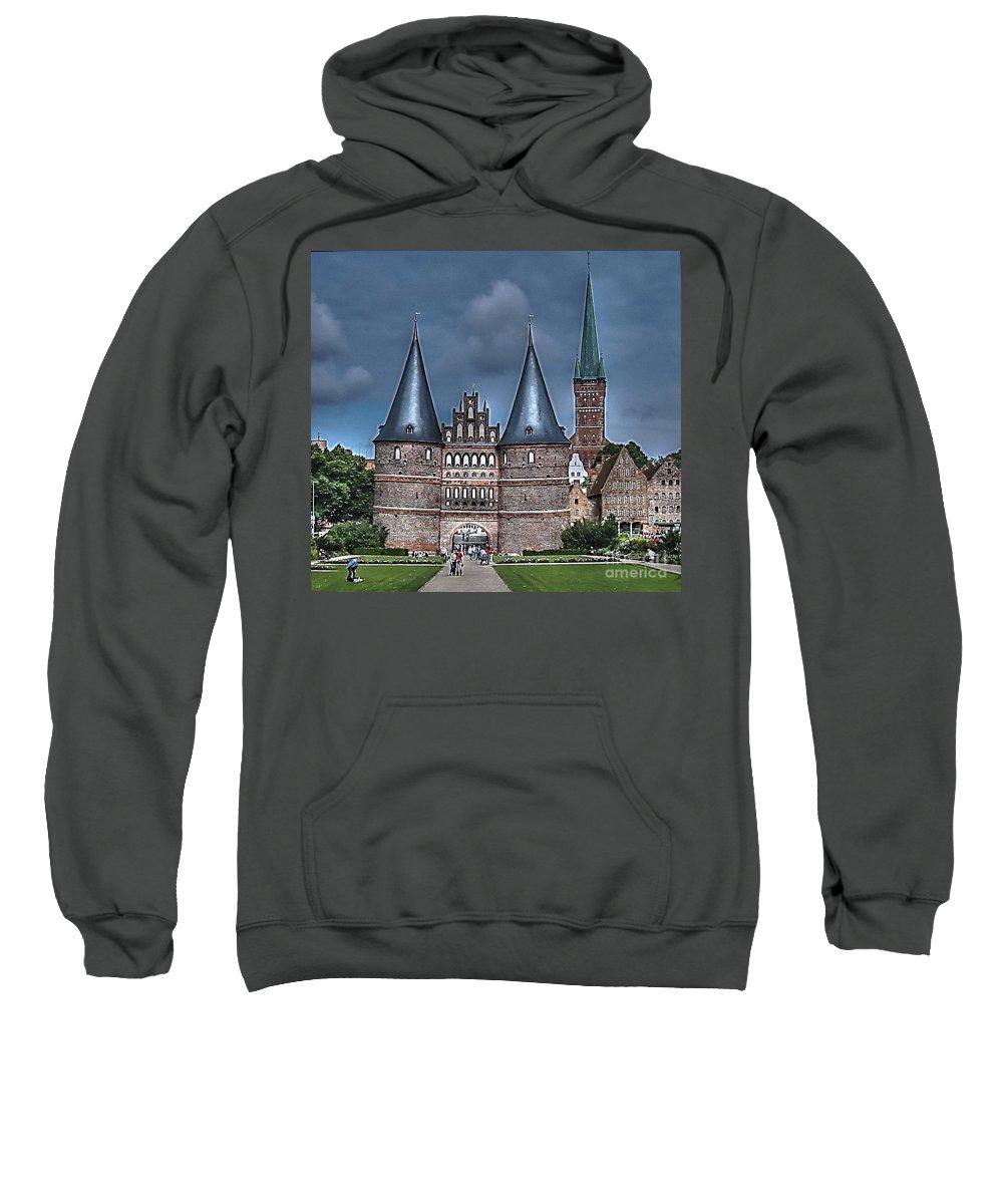 Lubek Sweatshirt featuring the pyrography Lubek Germany by Yury Bashkin