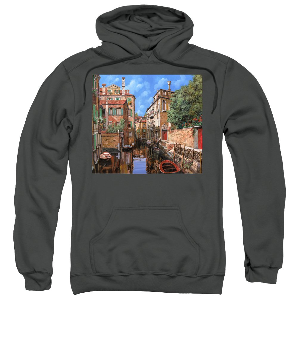 Venice Sweatshirt featuring the painting Luci A Venezia by Guido Borelli