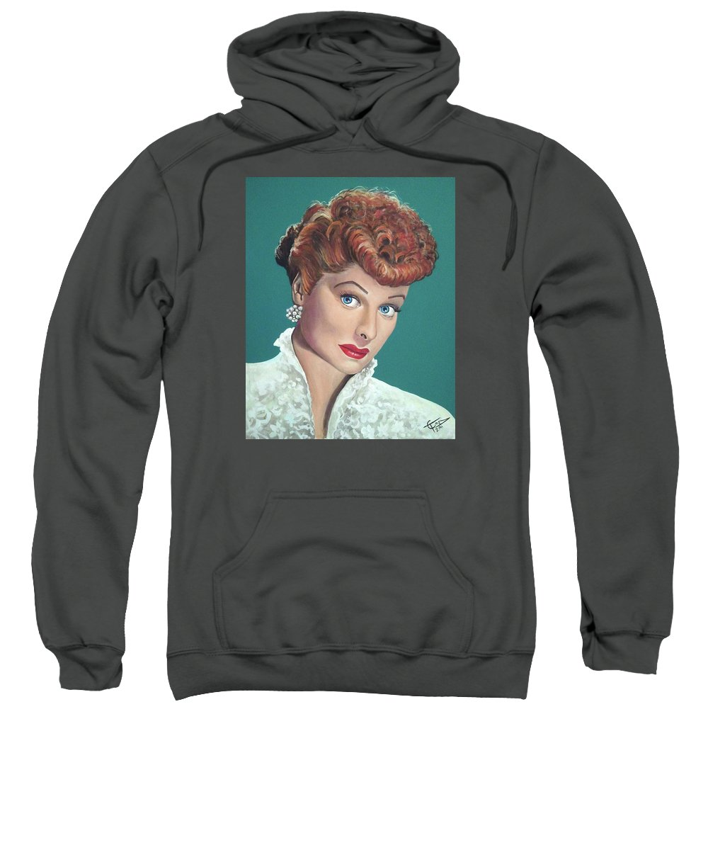 I Love Lucy Sweatshirt featuring the painting Lucille Ball by Tom Carlton