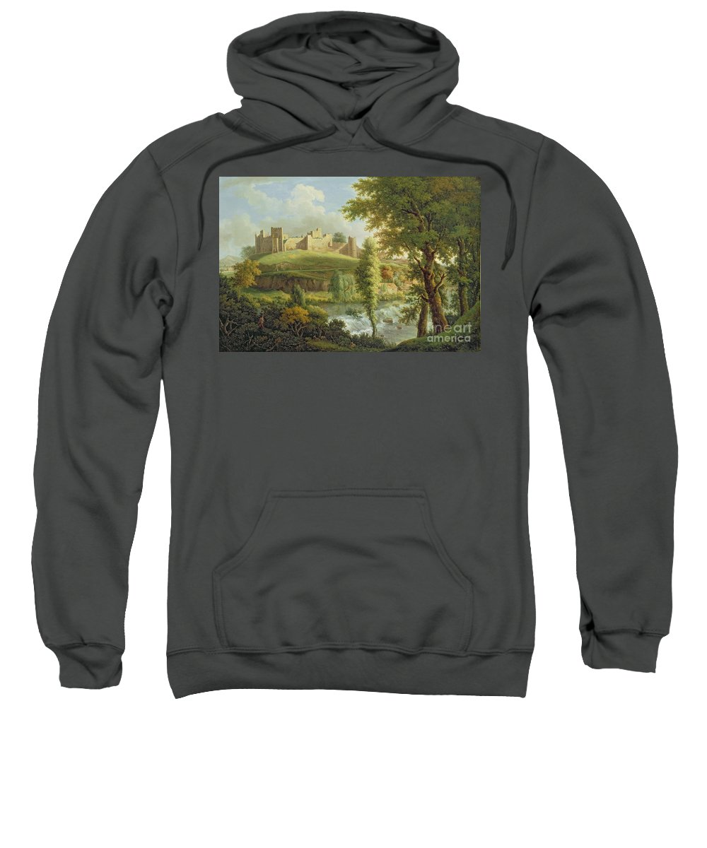 Ludlow Sweatshirt featuring the painting Ludlow Castle With Dinham Weir by Samuel Scott