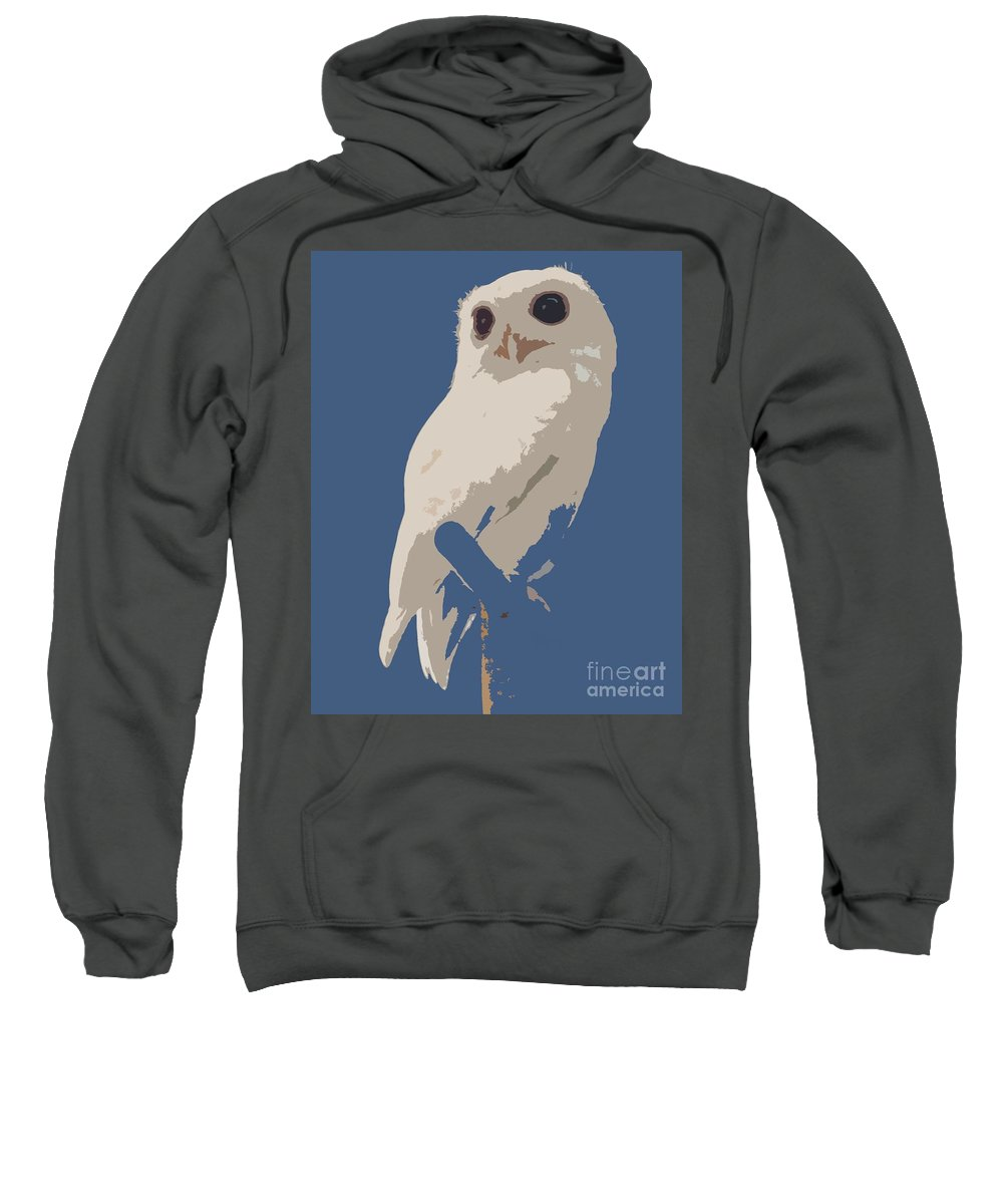 Owl Sweatshirt featuring the photograph Luna The Rescued White Leucistic Eastern Screech Owl Abstracted by Barbie Corbett-Newmin