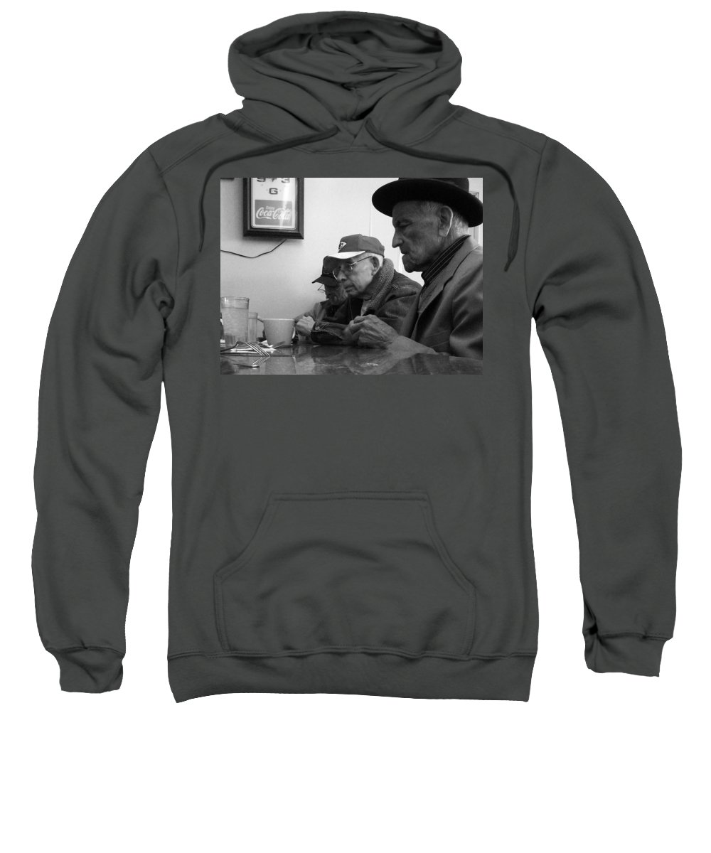 Diner Sweatshirt featuring the photograph Lunch Counter Boys - Black And White by Tim Nyberg