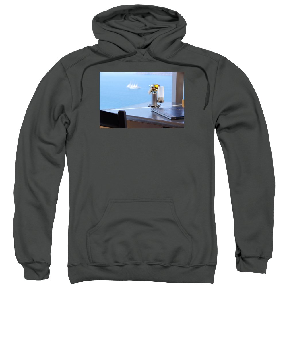Ship Sweatshirt featuring the photograph Lunch Over Santorini by Ron Koivisto