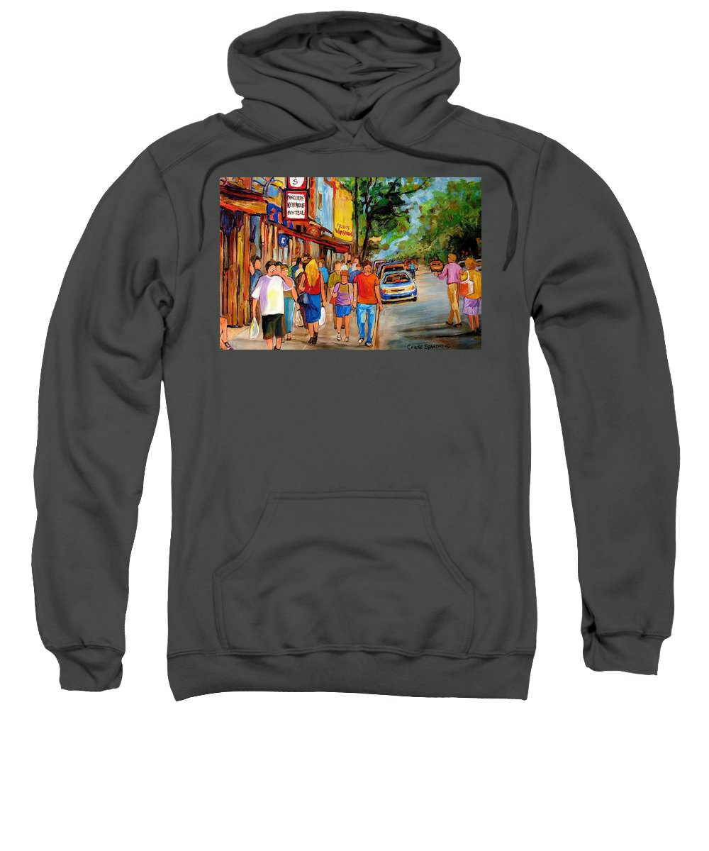 Montreal Streetscenes Sweatshirt featuring the painting Lunchtime On Mainstreet by Carole Spandau