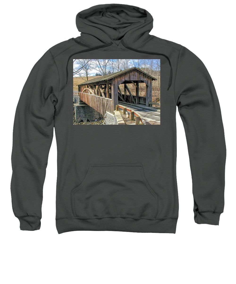 Landscape Sweatshirt featuring the photograph Luther Mills Bridge by Lou Cardinale