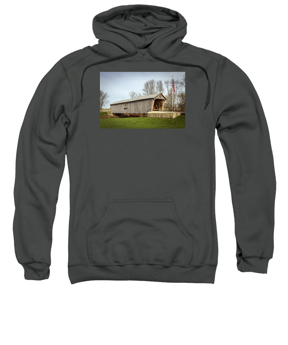 America Sweatshirt featuring the photograph Lynchburg Covered Bridge by Jack R Perry