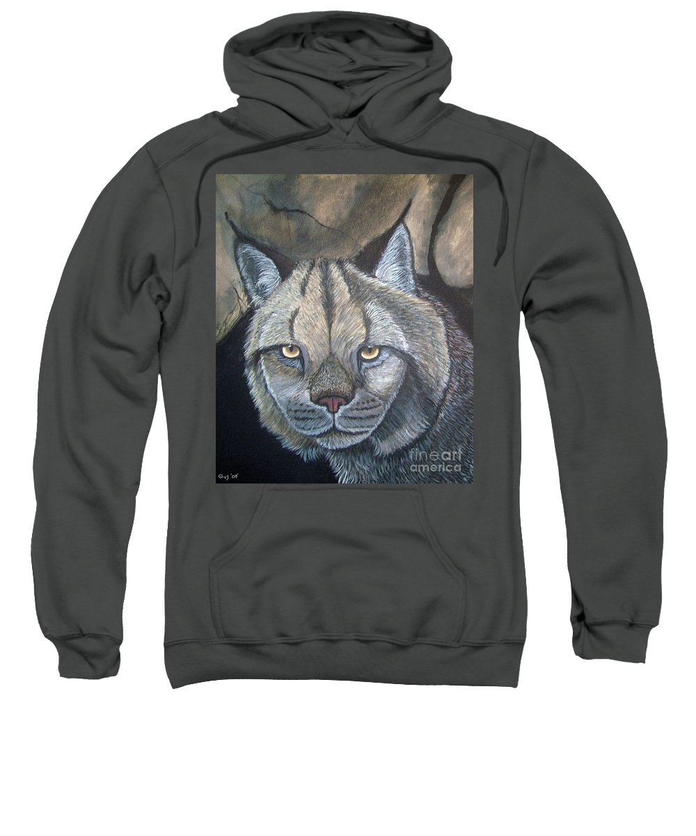 Lynx Sweatshirt featuring the painting Lynx by Nick Gustafson