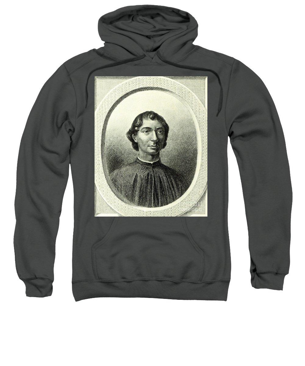 Machiavelli Sweatshirt featuring the drawing Machiavelli by Italian School