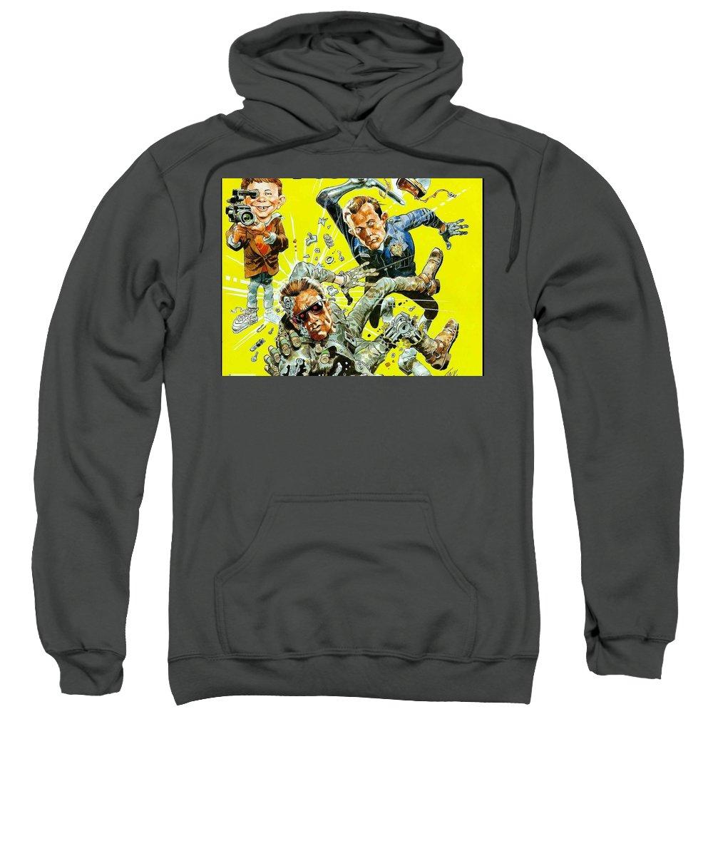 Mad Sweatshirt featuring the digital art MAD by Bert Mailer