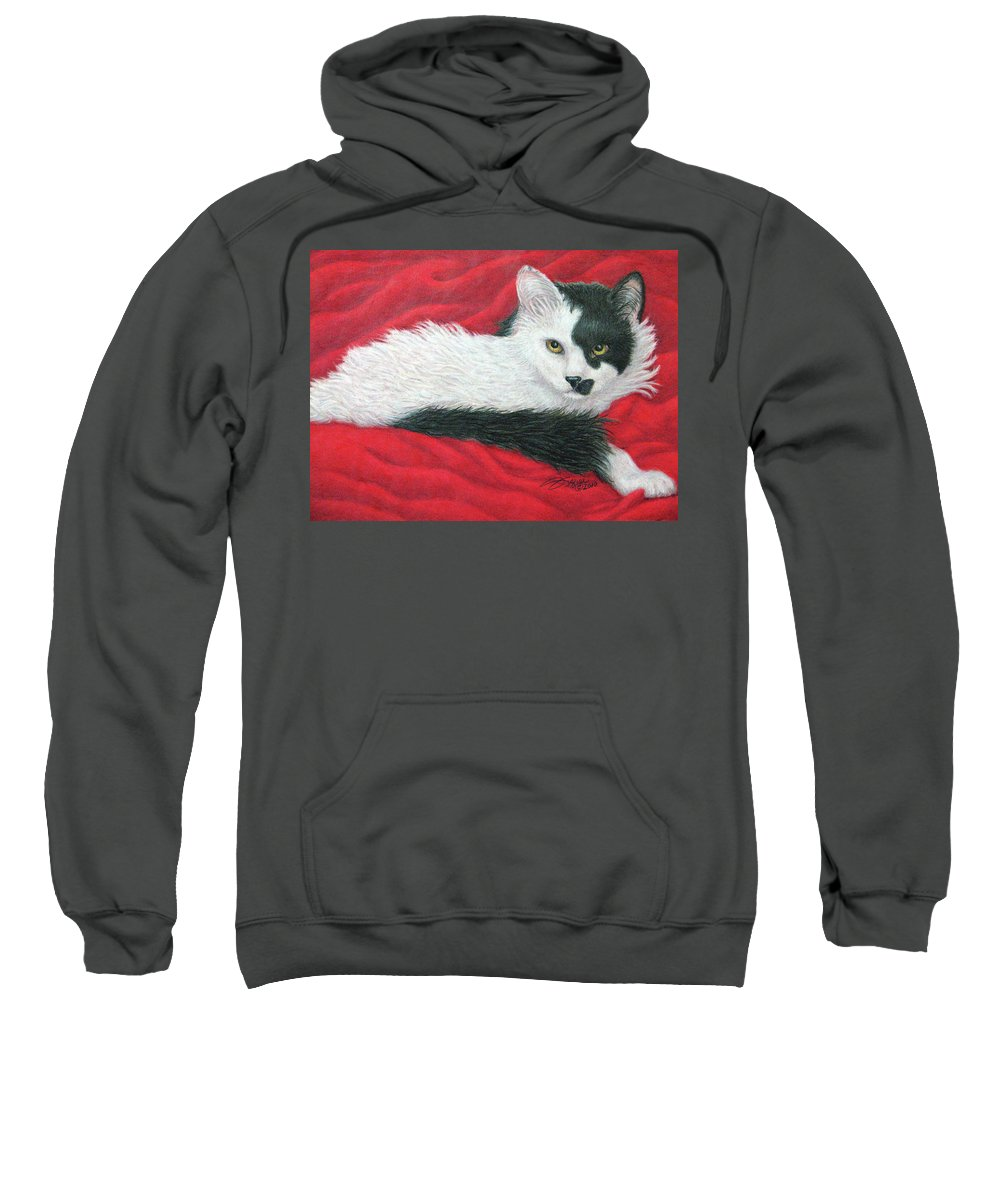 Pet Portraits Sweatshirt featuring the drawing Maddie In Red by Beverly Fuqua
