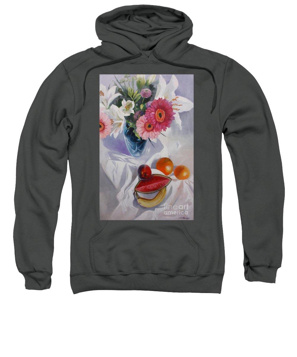 Lin Petershagen Sweatshirt featuring the painting Magenta by Lin Petershagen