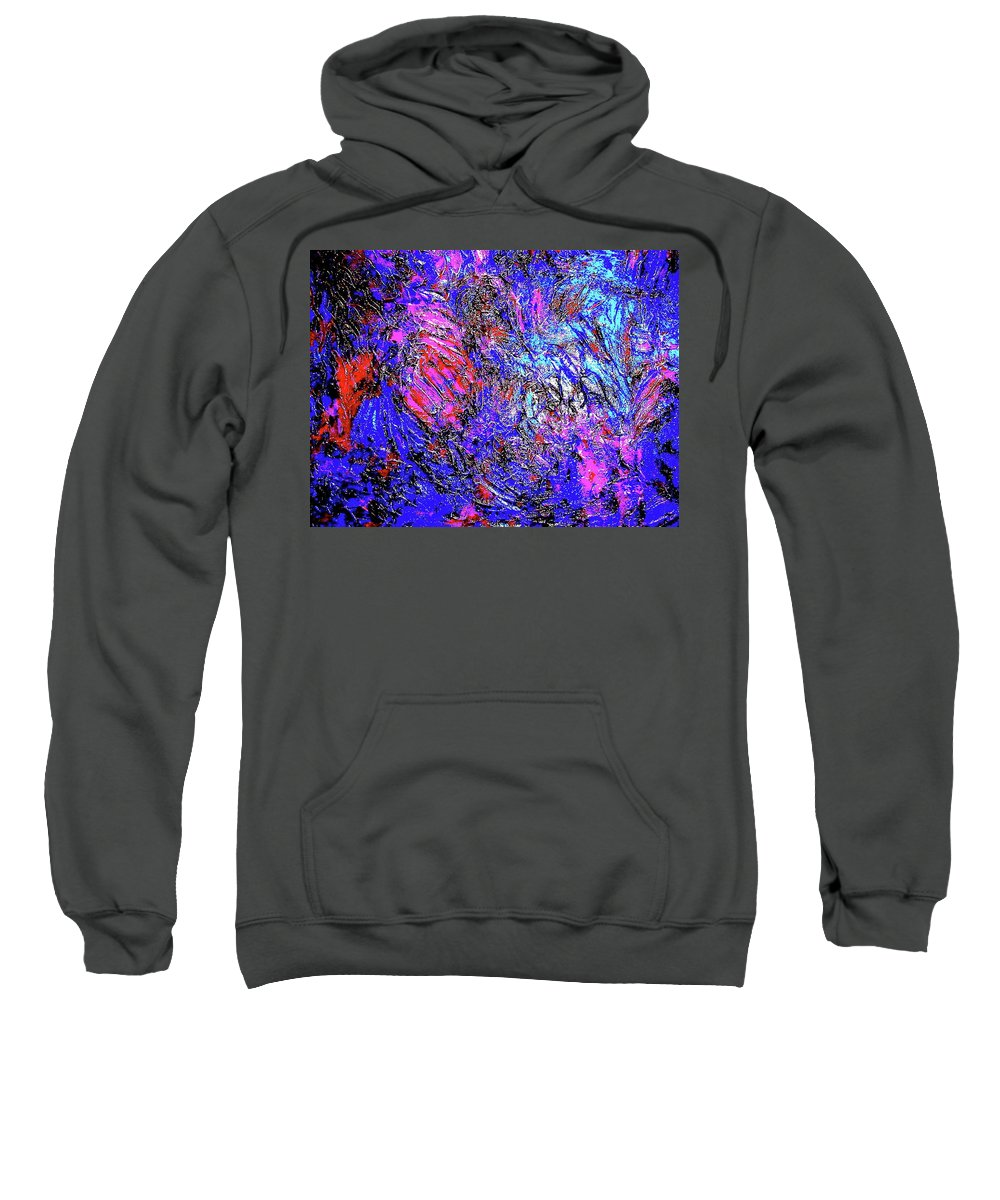 Painting Acrylics Prints Sweatshirt featuring the painting Magic Blue by Monique's Fine Art