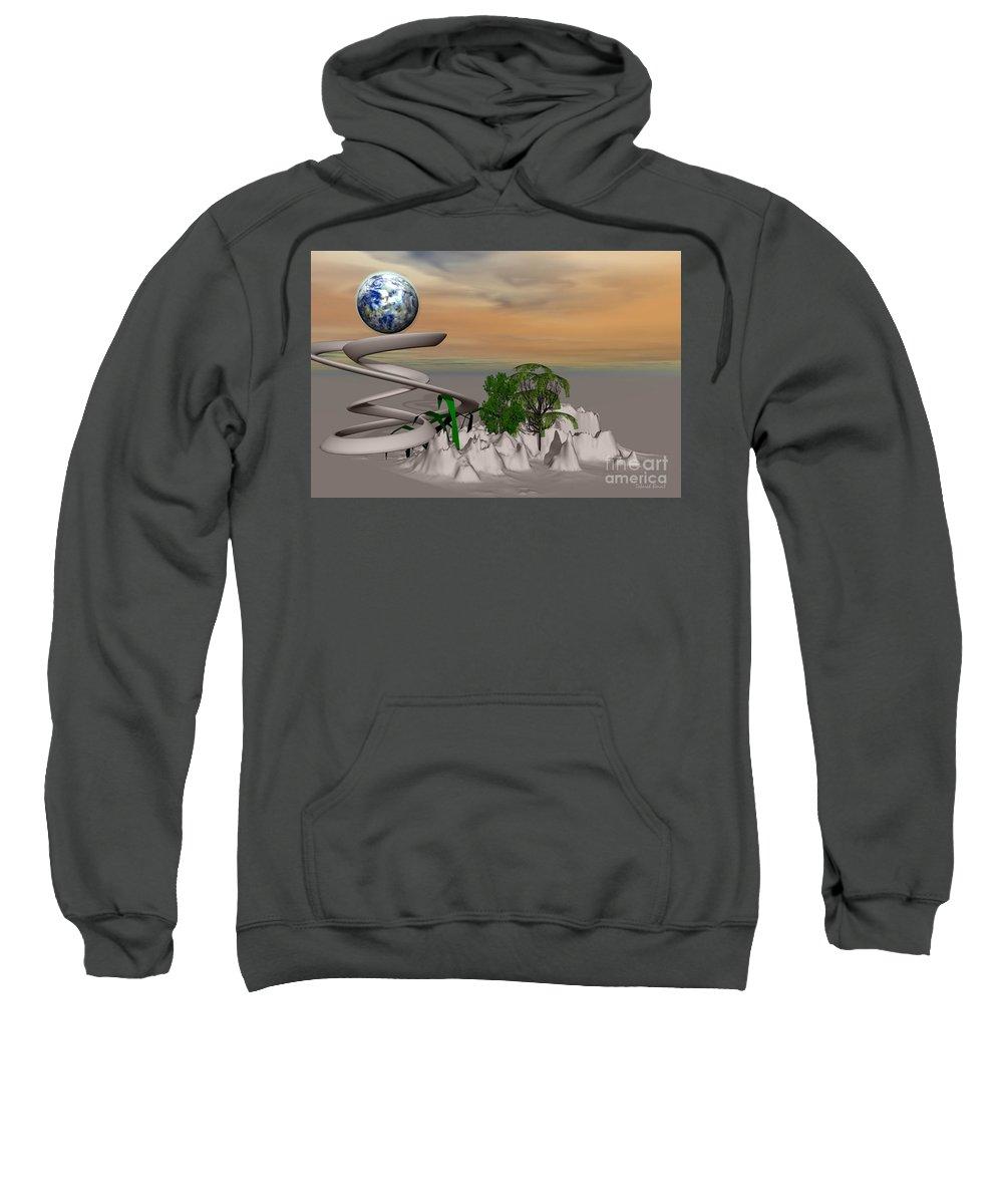 Digital Sweatshirt featuring the mixed media Magical Island by Deborah Benoit