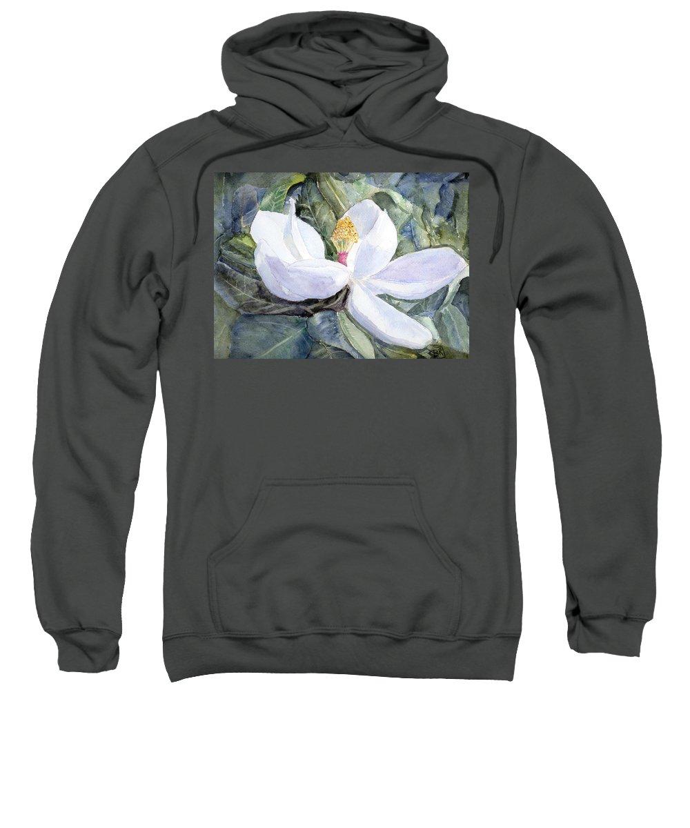 Magnolia Sweatshirt featuring the painting Magnolia Blossom by Barry Jones