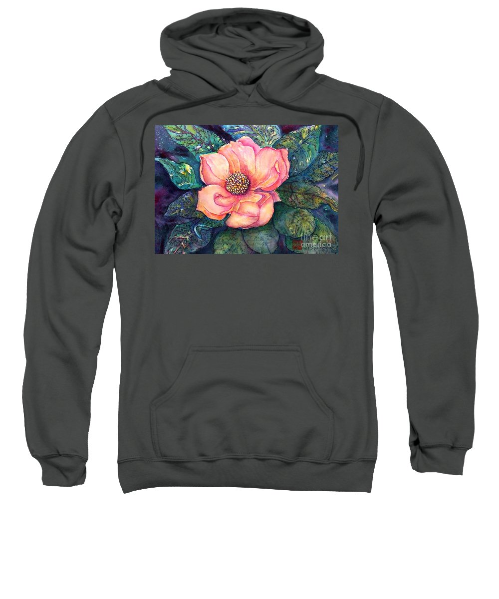 Flowers Sweatshirt featuring the painting Magnolia In The Evening by Norma Boeckler