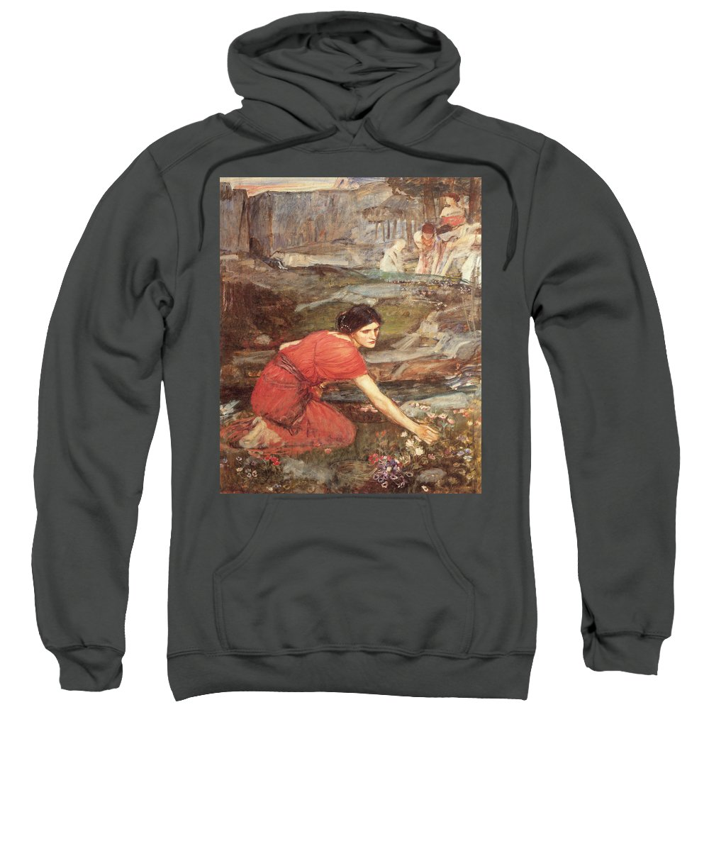 John William Waterhouse Sweatshirt featuring the painting Maidens Picking Flowers By The Stream by John William Waterhouse