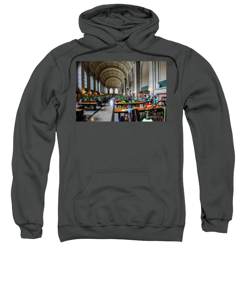 Americana Sweatshirt featuring the photograph Main Reading Room Of Boston Public Library by Thomas Marchessault
