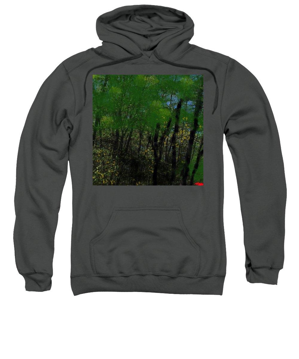 Maine Sweatshirt featuring the digital art Maine Forest by Bill Minkowitz