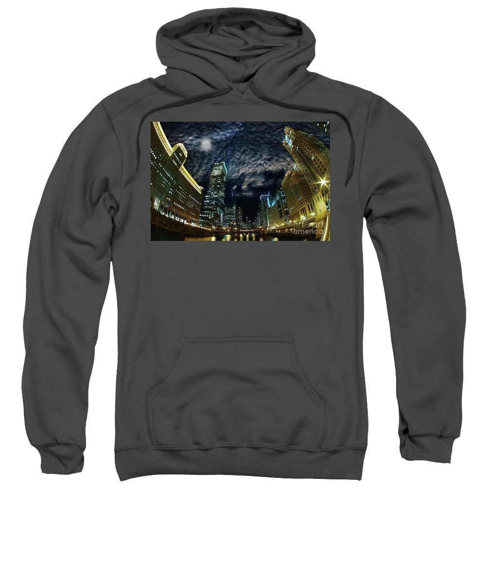 Lens Flare Sweatshirt featuring the photograph Majestic Chicago - Windy City Riverfront At Night by Bruno Passigatti