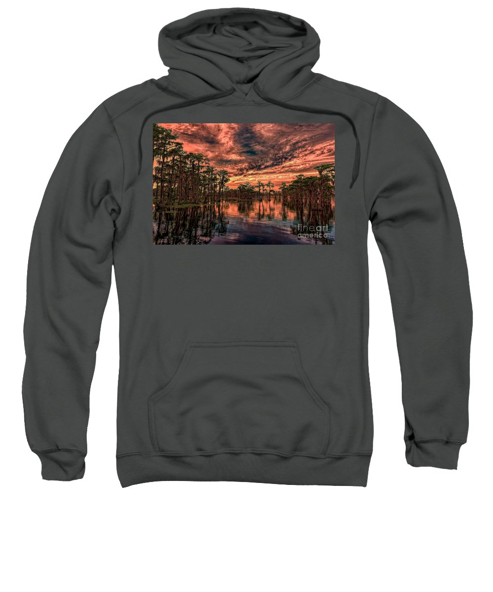Sunsets Sweatshirt featuring the photograph Majestic Cypress Paradise Sunset by Bill And Deb Hayes