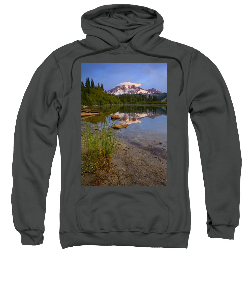 Mt. Rainier Sweatshirt featuring the photograph Majestic Glow by Mike Dawson