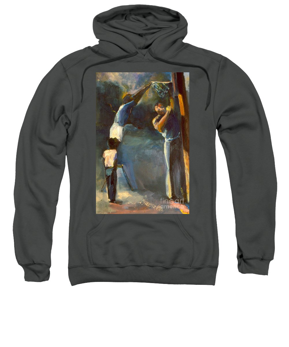 #oil Painting# Sweatshirt featuring the painting Makin Basketball by Daun Soden-Greene
