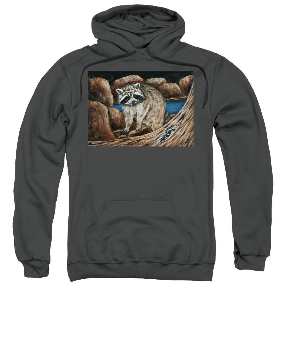 Racoon Sweatshirt featuring the painting Mama Racoon by Ruth Bares
