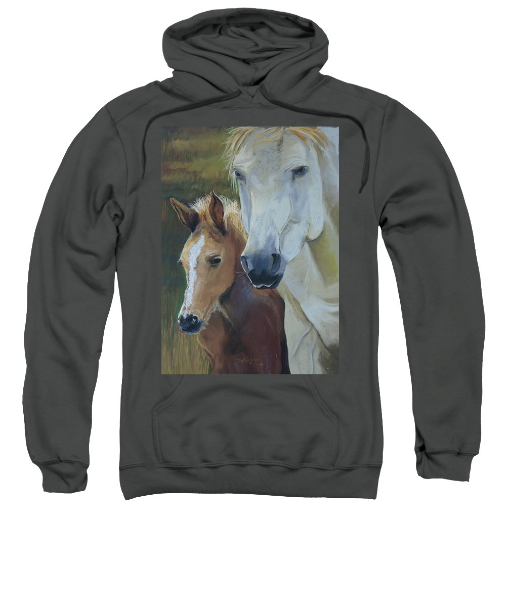 Horses Sweatshirt featuring the painting Mama's Boy by Heather Coen