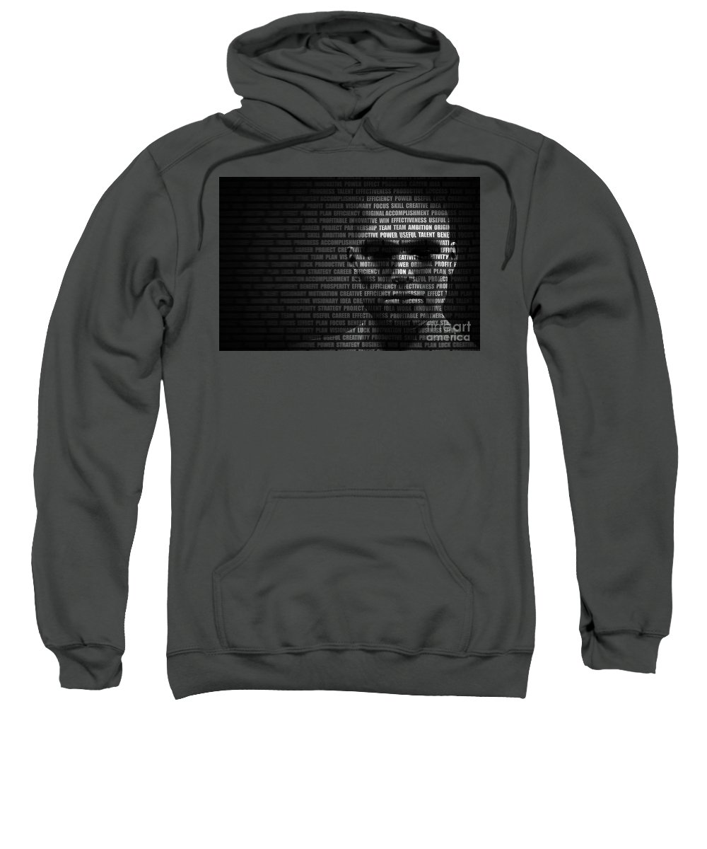 Brainstorm Sweatshirt featuring the photograph Man Face Blended With Flowing List Of Motivational Words by Michal Bednarek