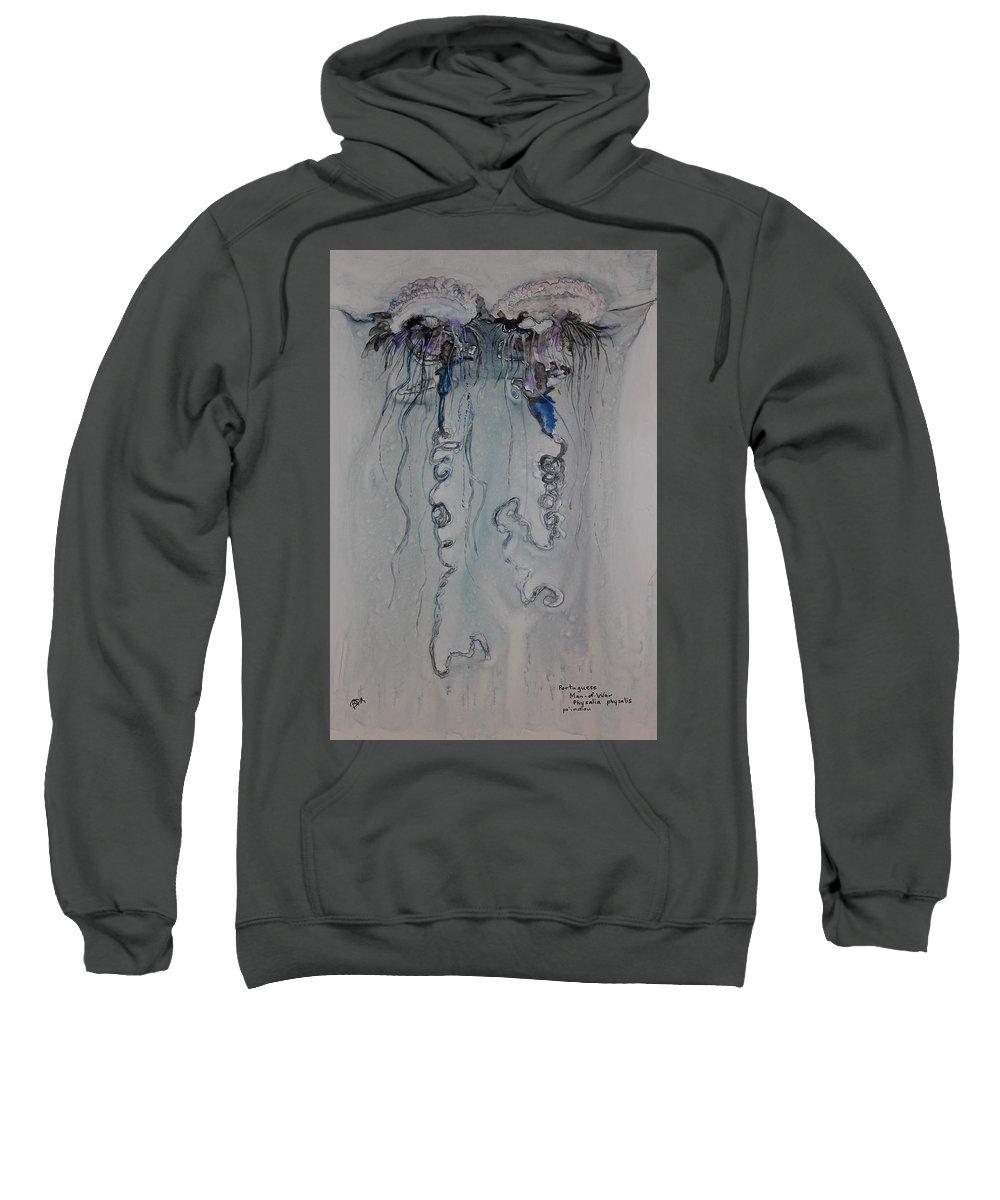 Fish Jellyfish man O' War Marine Ocean sea Life Tentacles Sweatshirt featuring the painting Man O' War by Brenda Michaels
