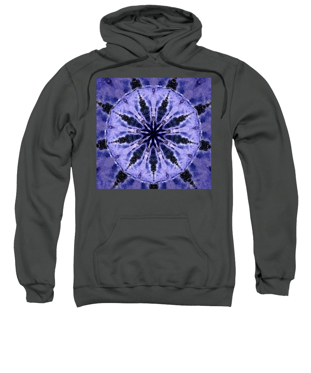Mandala Sweatshirt featuring the digital art Mandala Ocean Wave by Nancy Griswold