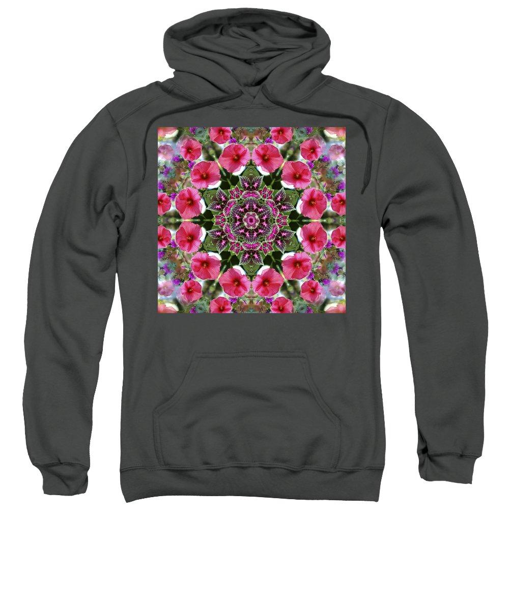 Mandala Sweatshirt featuring the digital art Mandala Pink Patron by Nancy Griswold