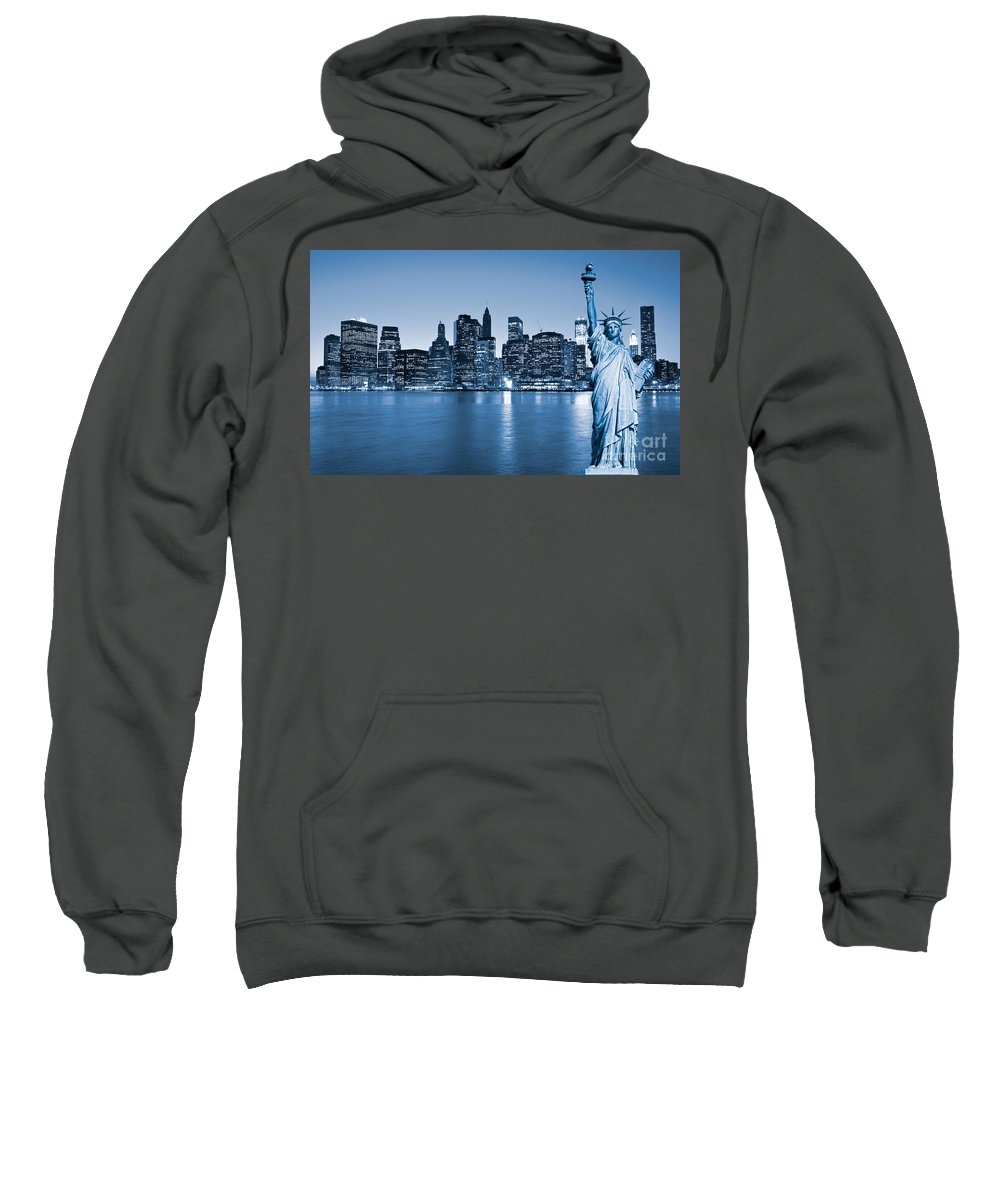 America Sweatshirt featuring the photograph Manhattan Skyline by Luciano Mortula
