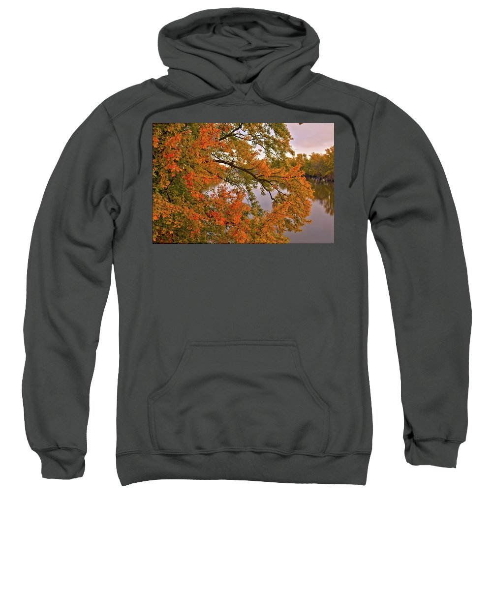 Maple Sweatshirt featuring the photograph Maple Over The River by Bonfire Photography