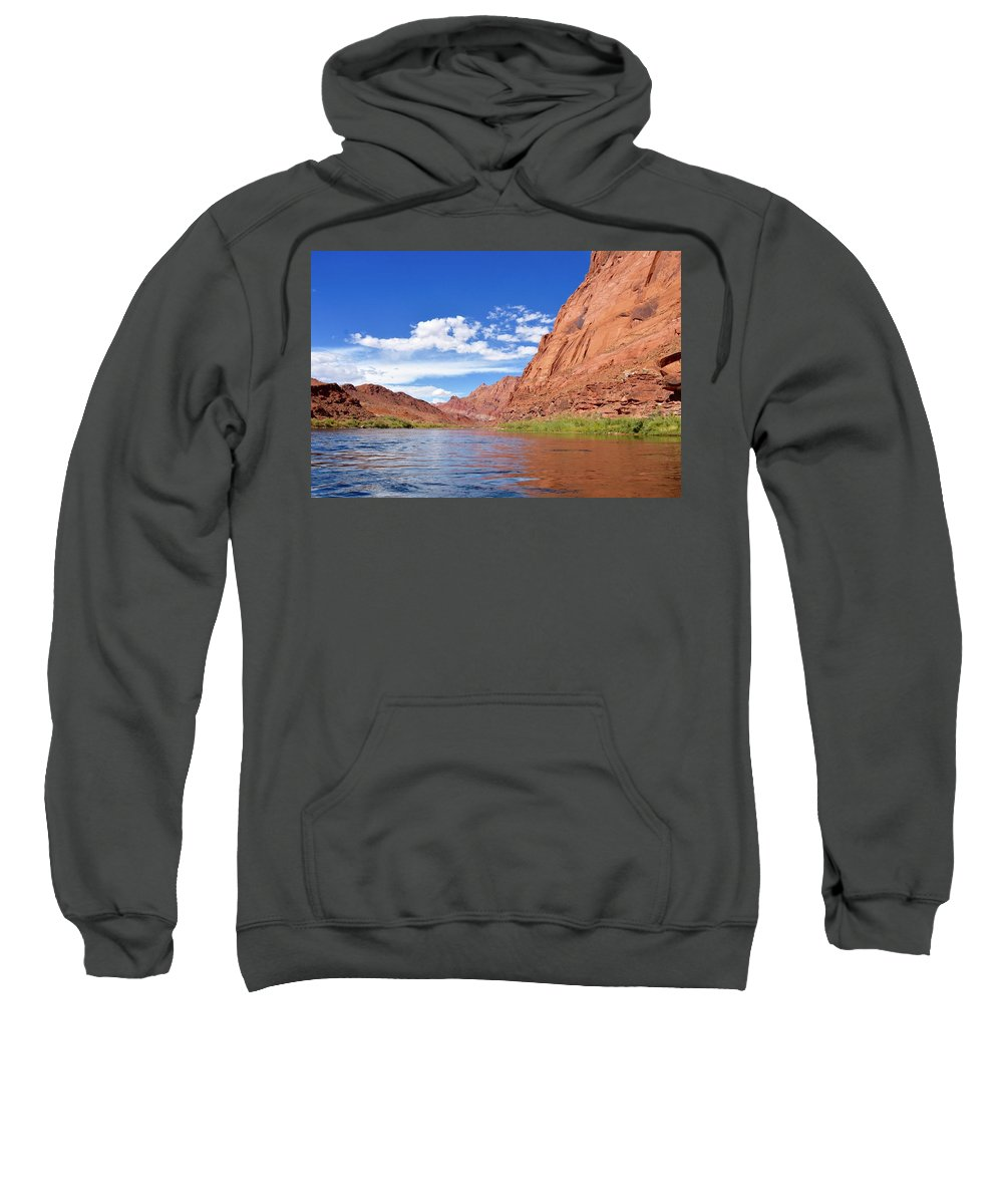 Colorado River Sweatshirt featuring the photograph Marble Canyon Walls by Barbara Stellwagen