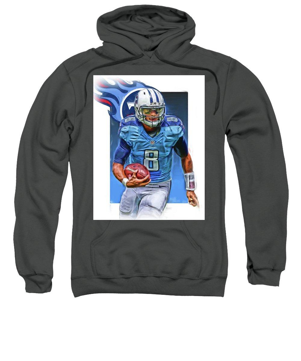 Marcus Mariota Sweatshirt featuring the mixed media Marcus Mariota Tennessee Titans Oil Art by Joe Hamilton