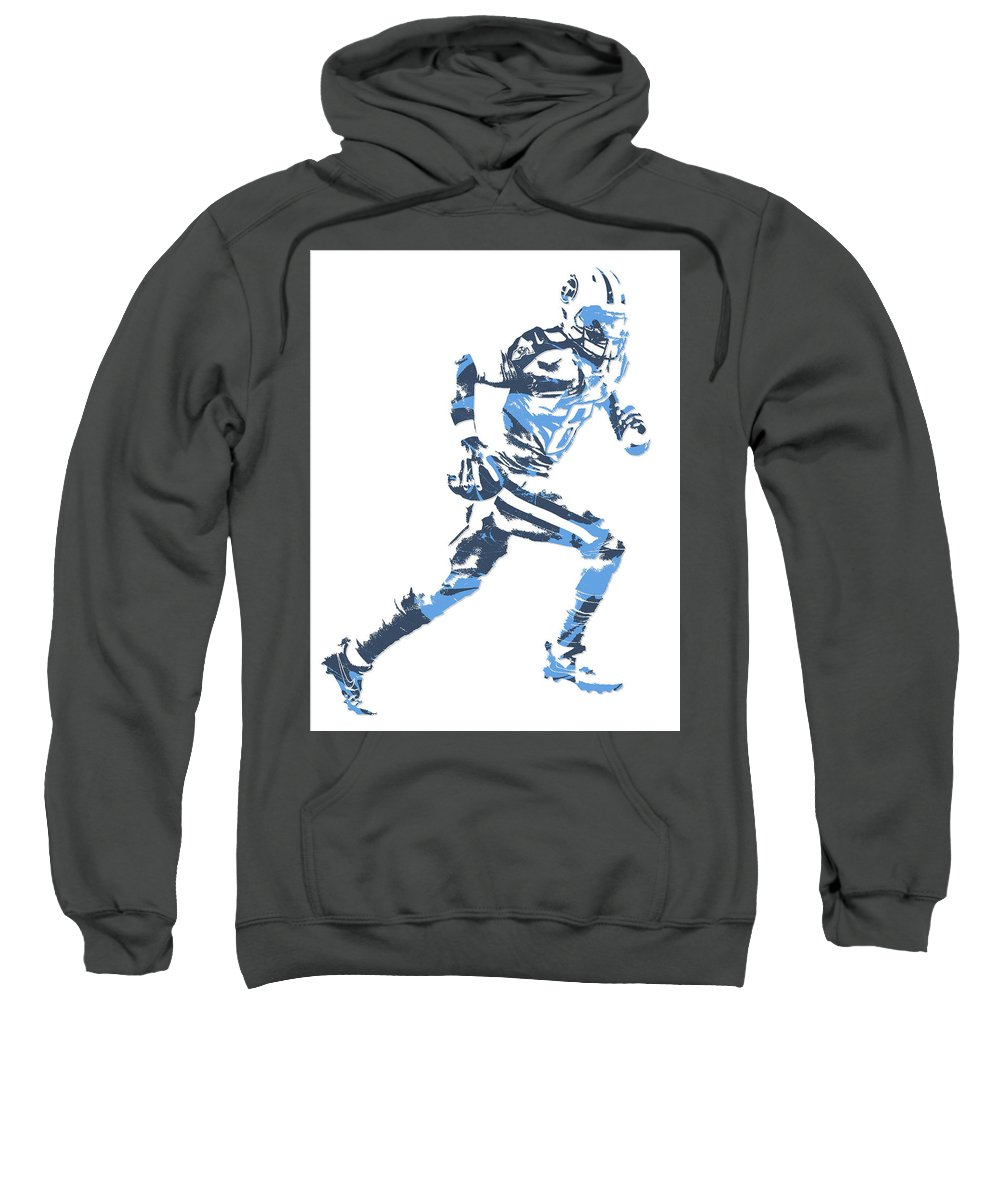 Marcus Mariota Sweatshirt featuring the mixed media Marcus Mariota Tennessee Titans Pixel Art 13 by Joe Hamilton