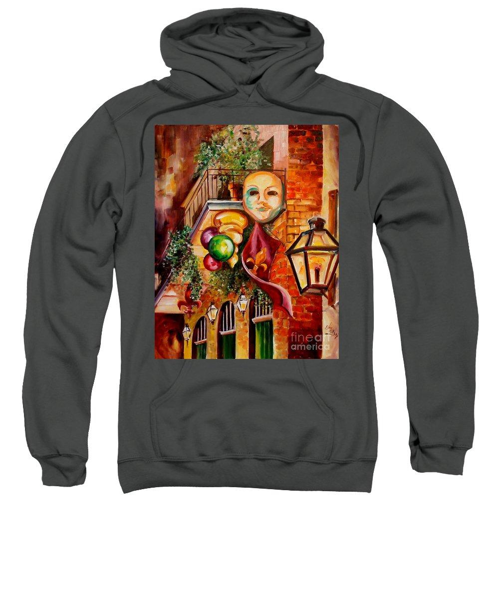 New Orleans Sweatshirt featuring the painting Mardi Gras Night by Diane Millsap