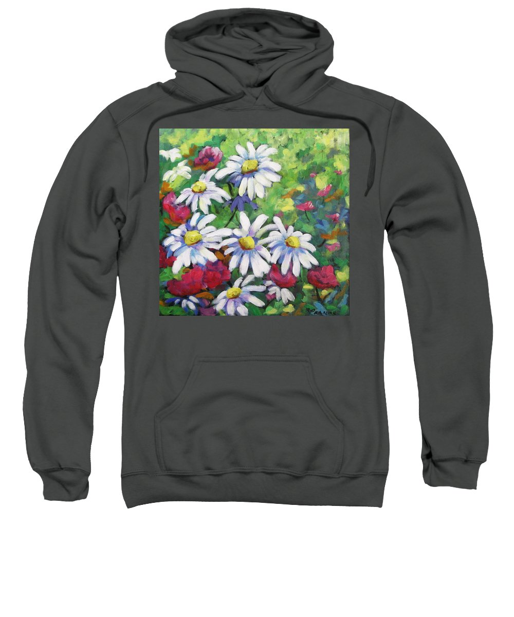 Fleurs Sweatshirt featuring the painting Marguerites 001 by Richard T Pranke