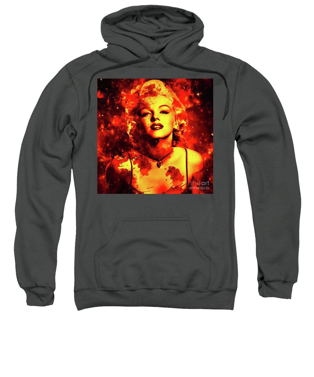 Marilyn Monroe Sweatshirt featuring the digital art Marilyn Monroe  Golden by Prar Kulasekara
