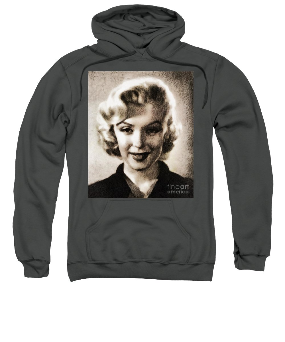Hollywood Sweatshirt featuring the painting Marilyn Monroe, Vintage Actress by John Springfield