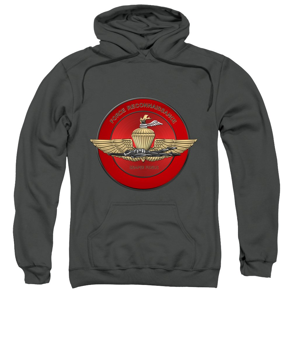 'military Insignia & Heraldry' Collection By Serge Averbukh Sweatshirt featuring the digital art Marine Force Reconnaissance - U S M C  F O R E C O N Insignia Over Red Velvet by Serge Averbukh