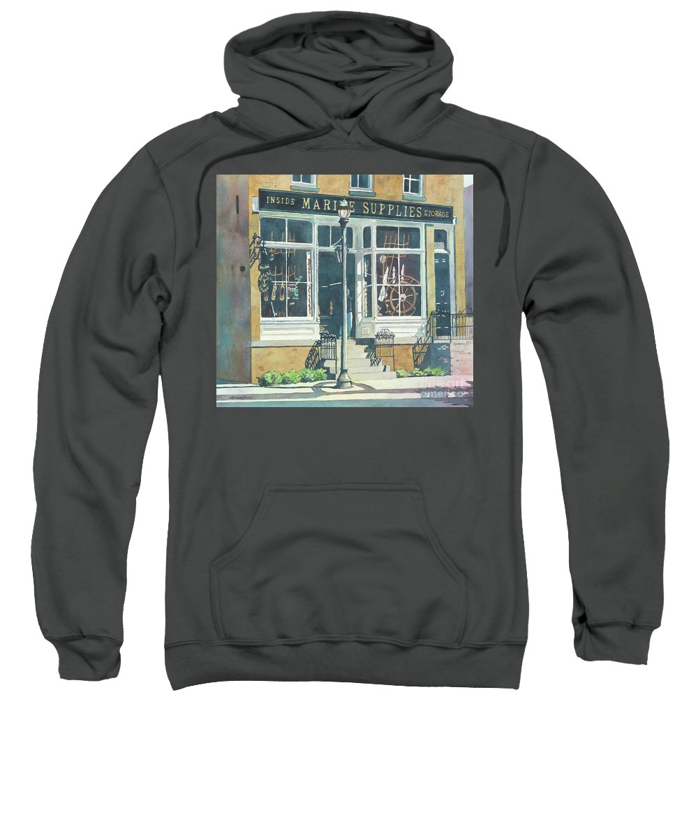 Storefronts Sweatshirt featuring the painting Marine Supply Store by LeAnne Sowa