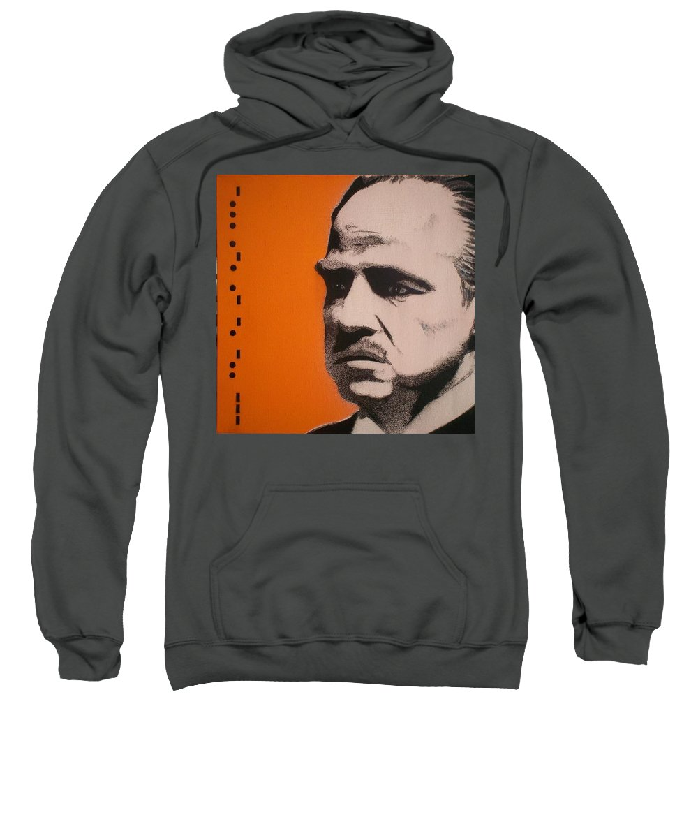 The Godfather Sweatshirt featuring the painting Marlon Brando by Gary Hogben