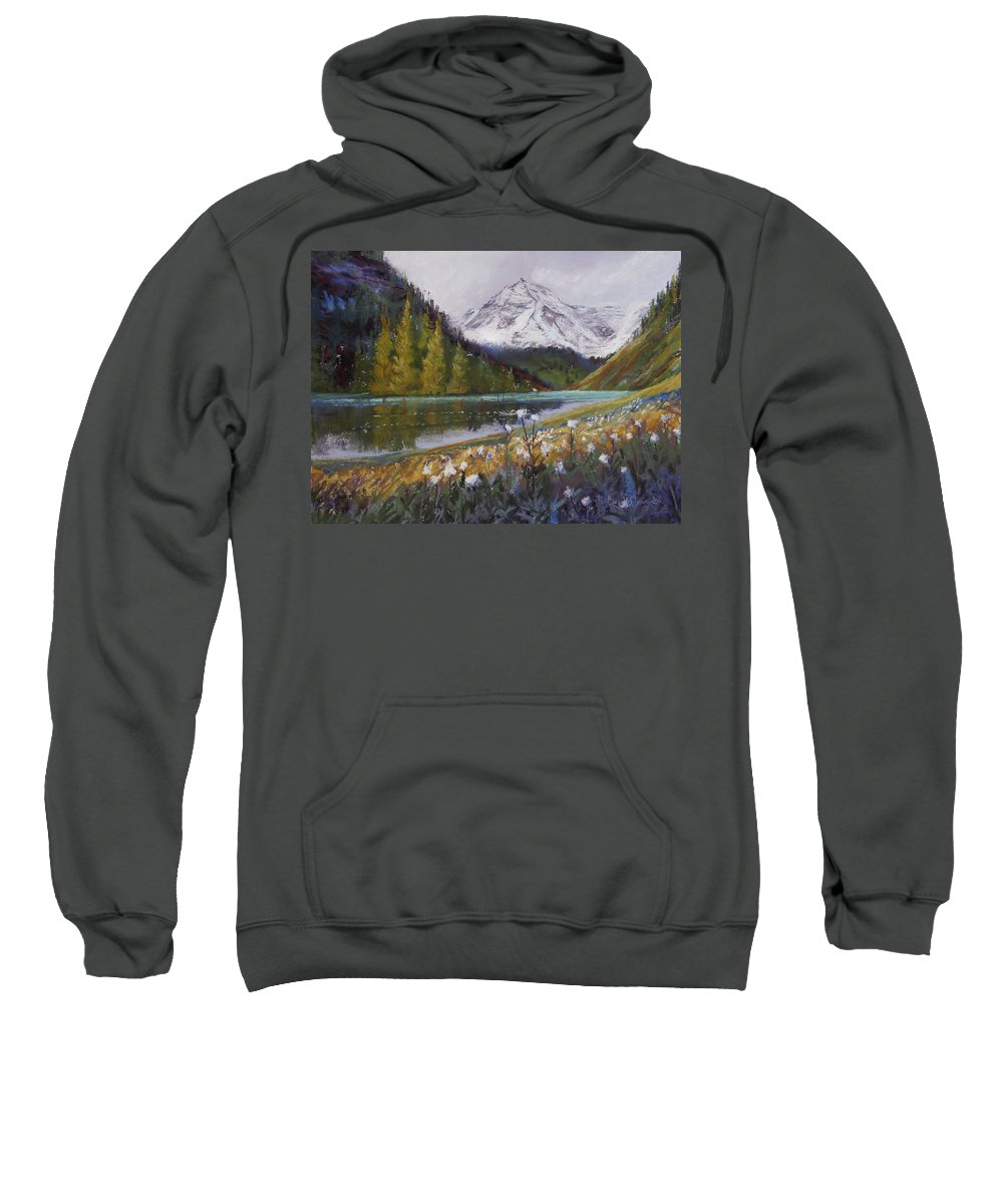 Maroon Lake Sweatshirt featuring the photograph Maroon Lake by Heather Coen