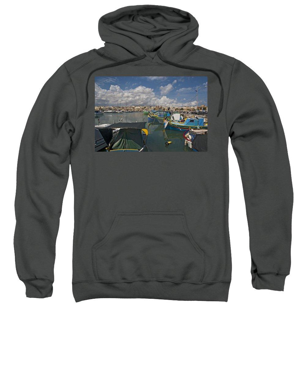 Marsaxlokk Sweatshirt featuring the digital art Marsaxlokk by Bert Mailer